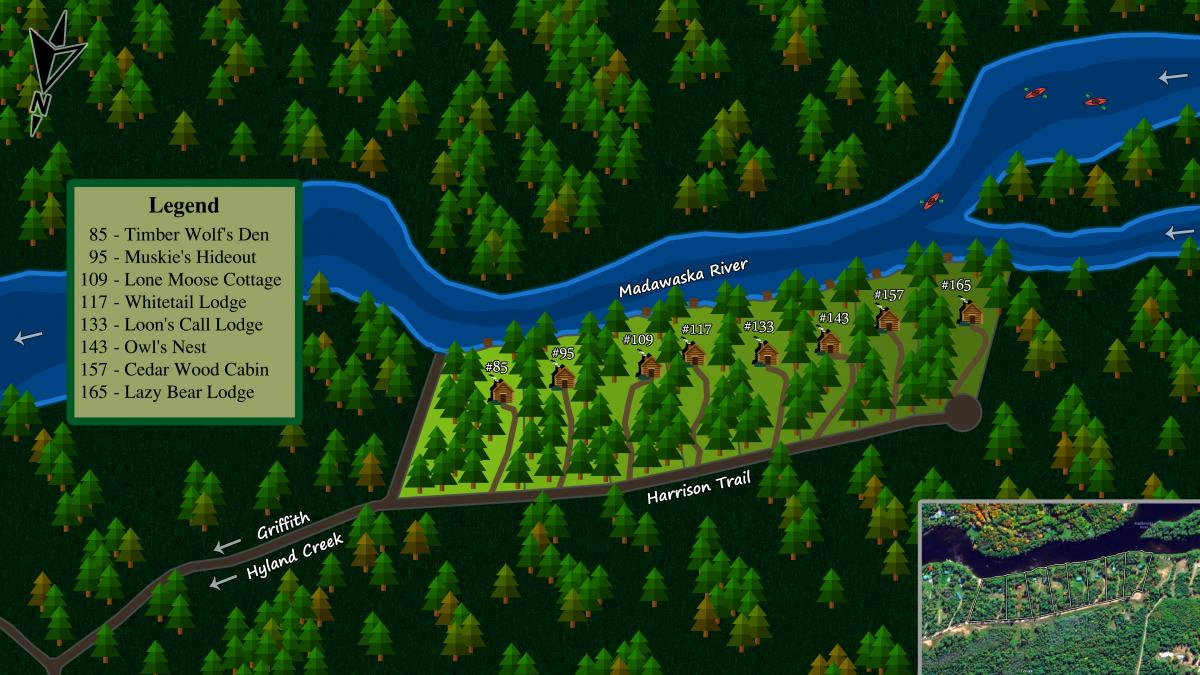 Madawaska river cottages map
